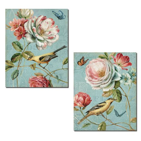 Beautiful Blooming Roses, Butterflies and Bird Print Set by Lisa Audit; Two 11x14in Poster Prints