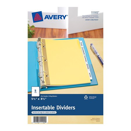 Mini Worksaver Insertable Tab Dividers 55 X 85 Inches 5 Tab Set