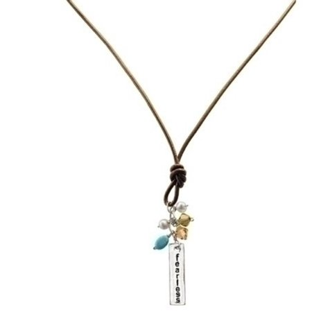 20   Sterling Silver And Brown Leather   Fearless   Pendant Necklace