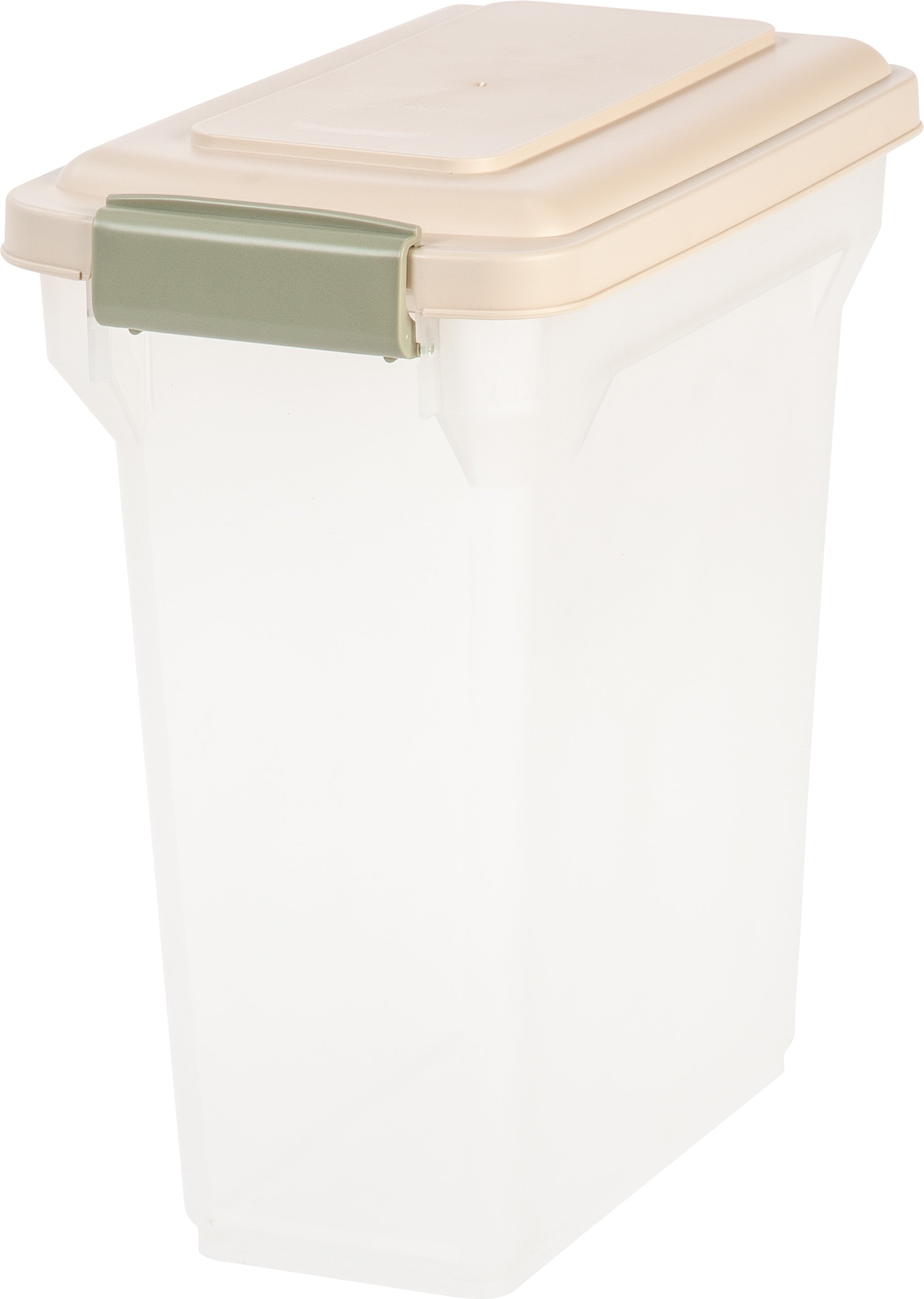 iris 15 quart airtight pet food container almond
