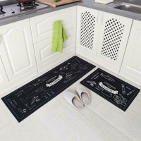 "Coolmade Anti Fatigue Kitchen Rug Sets 2 Piece 17""x47""+17""x25"" Non Slip Kitchen Floor Mats Cushioned Comfort Standing Mat Waterproof Stain Resistant"