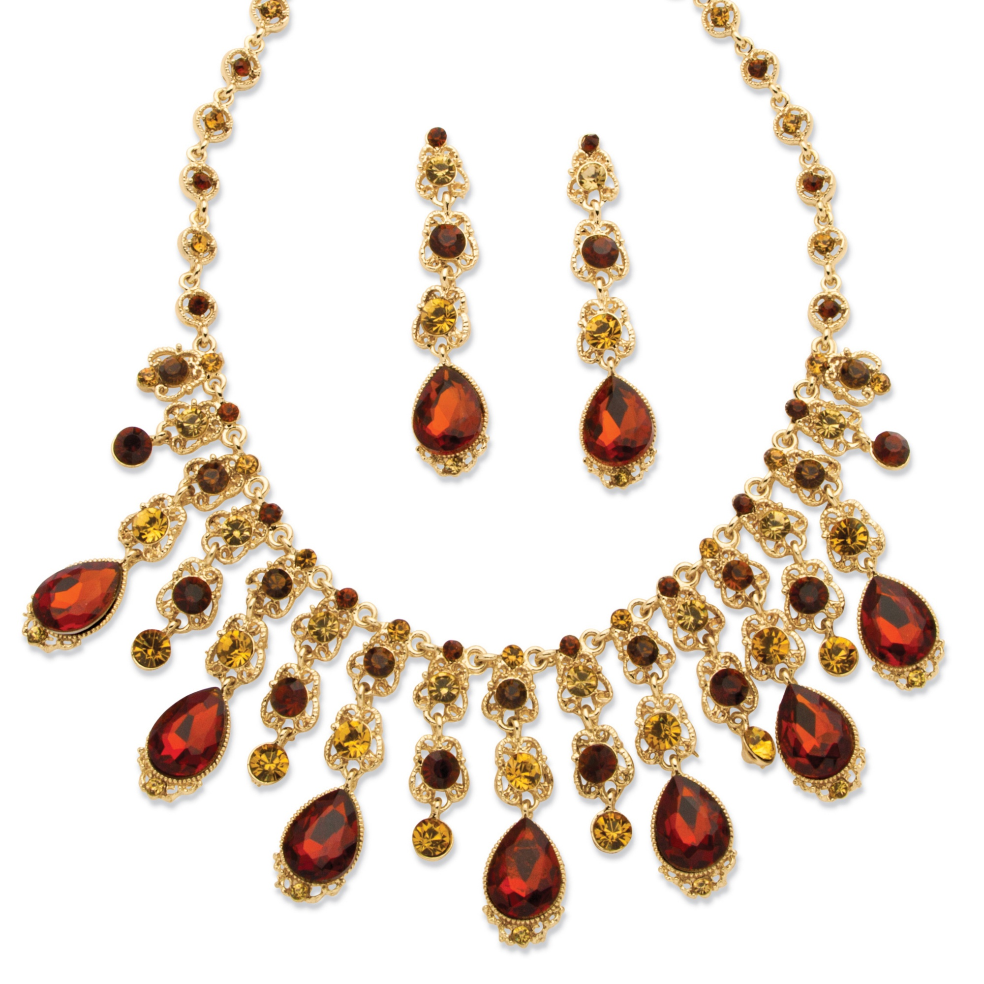Smoky Crystal Vintage-Style Two-Piece Necklace and Earrings Set in Yellow Gold Tone