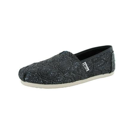 Toms Womens Lace Glitz Slip On Alpargata Flat Shoe (Non Slip Toms)