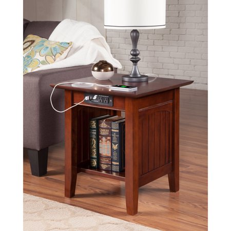 Atlantic Furniture Nantucket End Table with Charging Station in Walnut ()