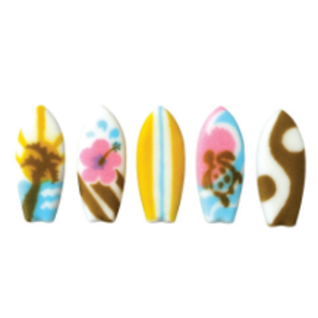 Set of 12 Surfboards 2inch Edible Sugar Cake & Cupcake Decoration Toppers - Surfboard Decoration