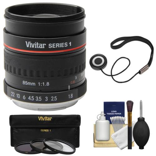 Vivitar 85mm f/1.8 Portrait Lens for Canon EOS Cameras with 3 UV/CPL/ND8 Filters + Cleaning Kit