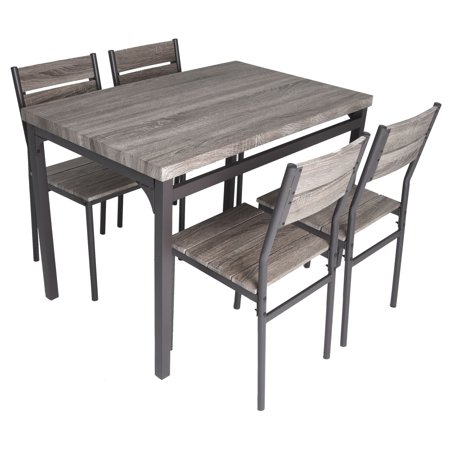 Zenvida 5 Piece Dining Set Rustic Grey Wooden Kitchen Table and 4 Chairs ()