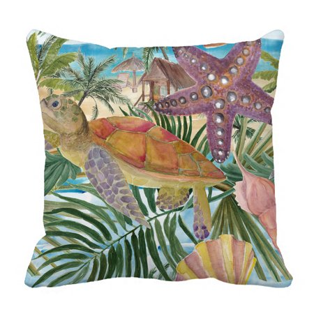 YKCG Sea Turtle Seashell Starfish Tropical Palm Tree Leaves Pillowcase Pillow Cushion Case Cover Twin Sides 18x18 - Palm Tree Leaf