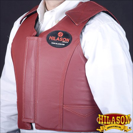- Hilason Maroon Leather Bareback Pro Rodeo Horse Riding Protective Vest