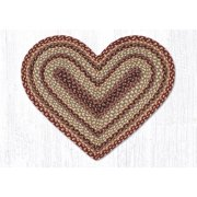 "Earth Rugs C-357 Burgundy / Gray / Cream Heart Braided Rug 20"" x 30"""