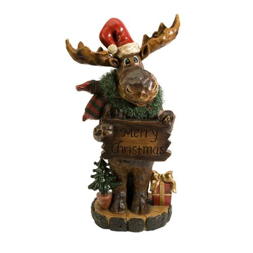 """36"""" Large Country Rustic """"Merry Christmas"""" Carved Wood Moose Statue"""