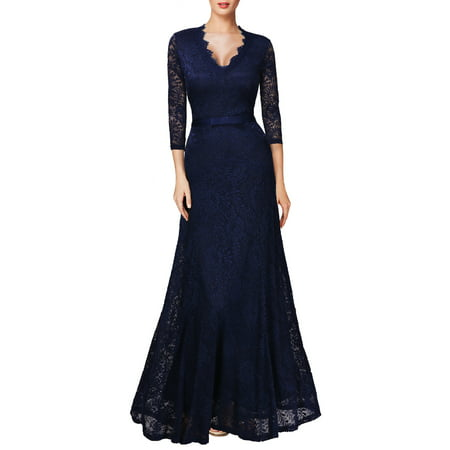 Miusol Women S Vintage Lace Long Maxi Formal Evening Bridesmaid Dresses Wedding Cocktail Party Dresses For Women V Neck 2 3 Sleeve Empire Waist Floor