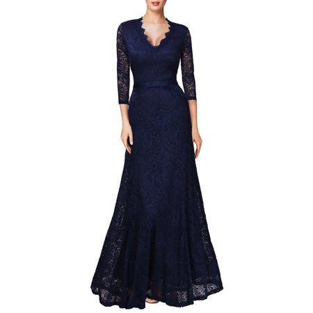 9c9e8dbcaa802 MIUSOL Women's Vintage Lace Long Maxi Formal Evening Bridesmaid Dresses  Wedding Cocktail Party Dresses for Women,V-Neck,2/3 Sleeve,Empire Waist,Floor  Length ...