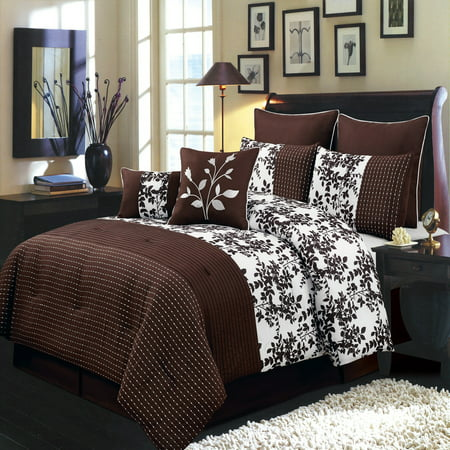 - Bliss 8-Pieces Bed in a Bag Set Includes Comforter Skirt Shams and Pillows