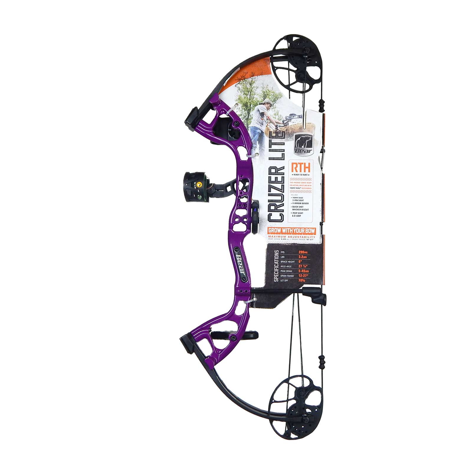 "Bear Archery Cruzer Lite 12-27"" RTH Compound Bow RH 5-45# RH Purple, A6CZL1055R"