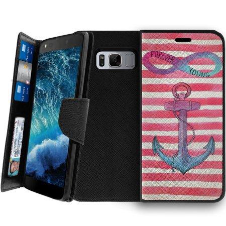 Samsung Galaxy S8 Clutch Case, Samsung Galaxy S8 SM-G950 Wallet Clutch Case for Women [CLIP FOLIO] Galaxy S8 Wallet Card & Kickstand Case with Magnetic Snap Folio Case - Pink Anchor Chevron