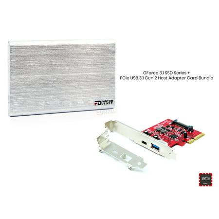 Fantom Drives External SSD 240GB USB 3 1 Gen 2 Type-C 10Gb/s with PCIe Host  Adapter - Silver - Windows - GFORCE 3 1 SSD Series