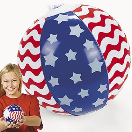 Lot of 12 Inflatable Patriotic USA Red White Blue Mini Beach Ball Party - Party City Usa