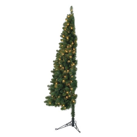 Home Heritage 7' Pre-Lit PVC Artificial Half Christmas ...