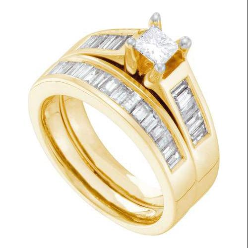 1.40Ctw Diamond 0.40Ct Center Princess Bridal Set Womens Fixed Ring Size - 7