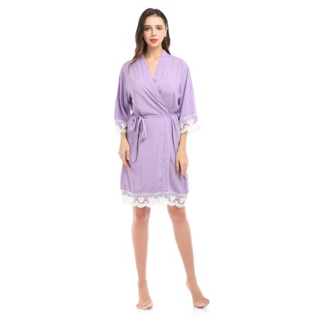 Women Night Robe Home Suit Cotton Lace Sleepwear Solid Knee-length Nightgown - image 1 de 3