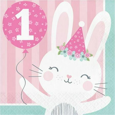 Bunny Birthday Party (Creative Converting Bunny Party 1st Birthday Napkins, 16)