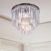 The Lighting Store Justina 5-light Crystal Glass Prism 3-tier Flush Mount Chrome Chandelier
