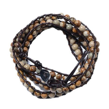 Shop LC Delivering Joy Handmade Leather Picture Jasper Wrap Beaded Bracelet for Women Adjustable 7