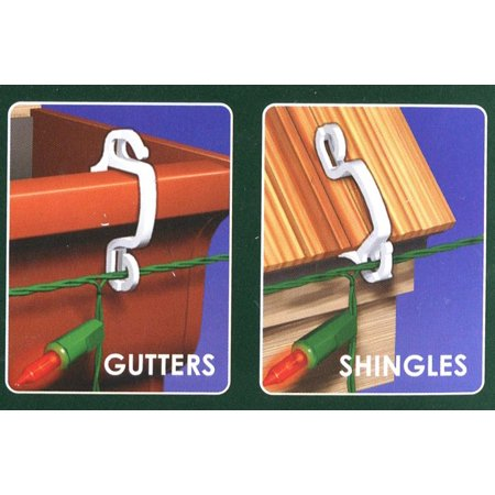 100ct outdoor gutter or siding hooks for hanging icicle christmas lights