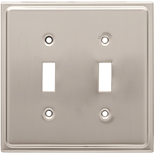 Brainerd Country Fair Double Switch Wall Plate, Satin Nickel