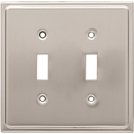 Franklin Brass Country Fair Double Switch Wall Plate in Satin Nickel Double Switch Combo Solid Brass