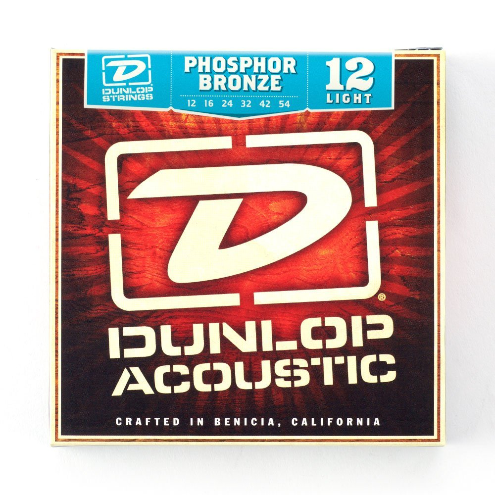 Dunlop DAP1254 Phosphore Bronze Light Acoustic Strings 6 String Set, 3-Pack .012-.054 by Dunlop