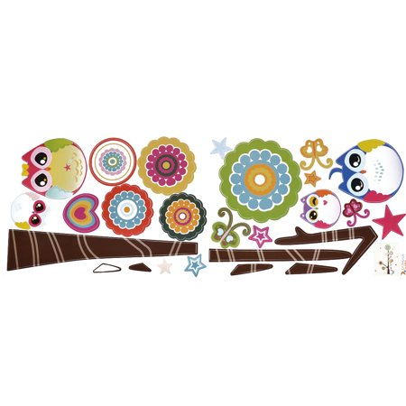 Nursery School Cartoon Owl Print Removable Decal Mural Art Ornament Wall Sticker - image 1 of 3