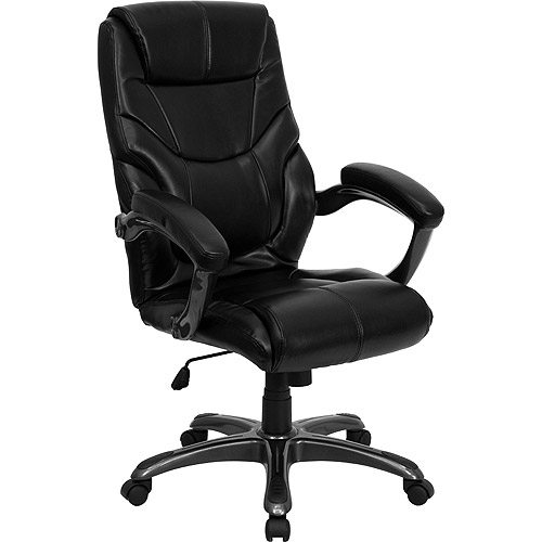 contemporary leather high-back office chair, black - walmart