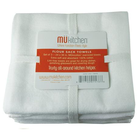 Mukitchen 4 Packs 3PK WHT FlourSack Towel