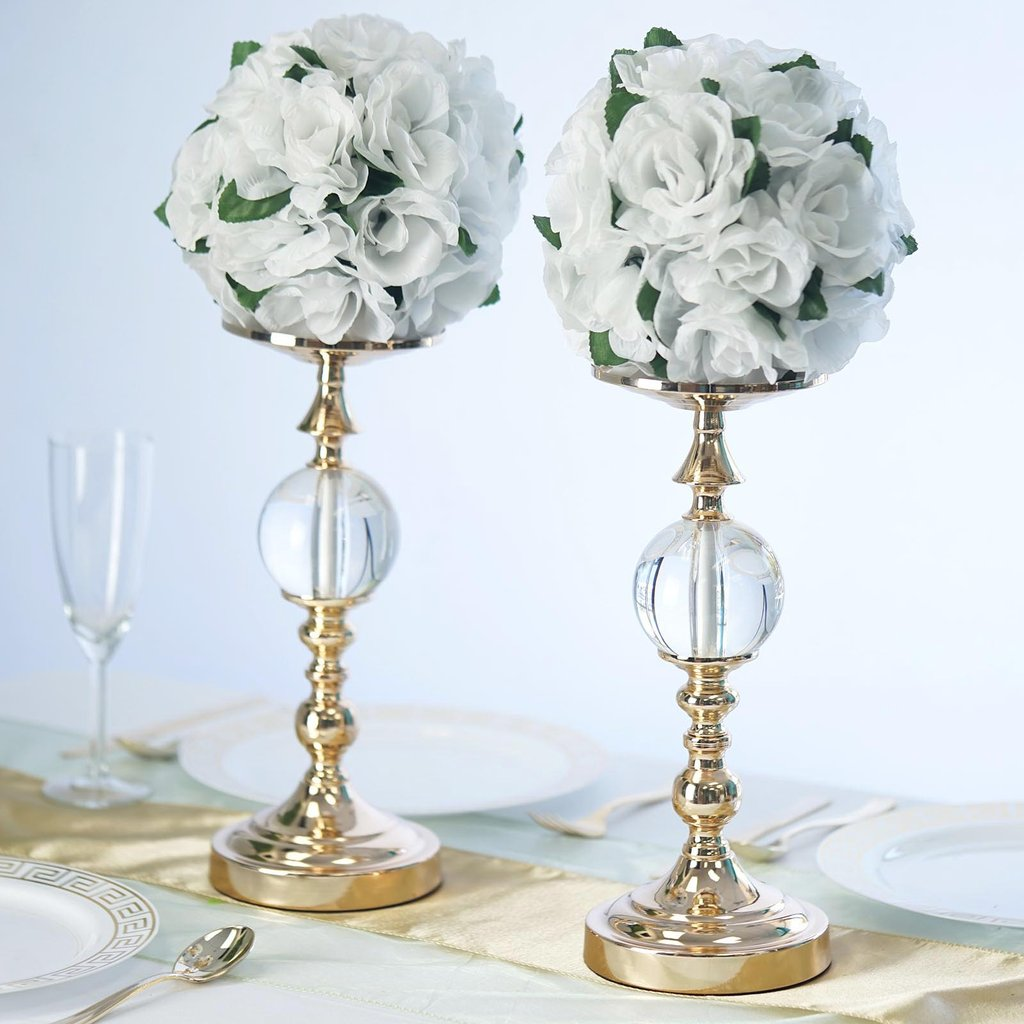 "Efavormart 2 Pack 13"" Tall Metallic Floral Vase Riser With Acrylic Ball Centerpiece"