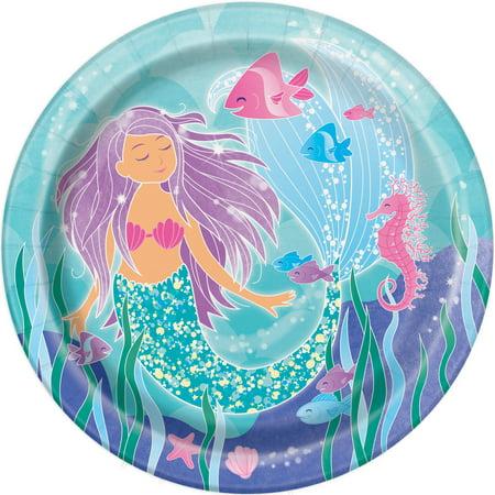 Mermaid Paper Dinner Plates, 9in, 8ct