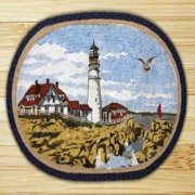 "Earth Rugs OP-1071 Portland Headlight Design Oval Rug, 20"" x 30"", Charcoal/Natural"
