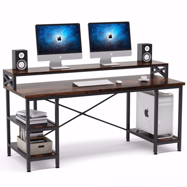 Tribesigns 63 Inch Computer Desk With Storage Shelves