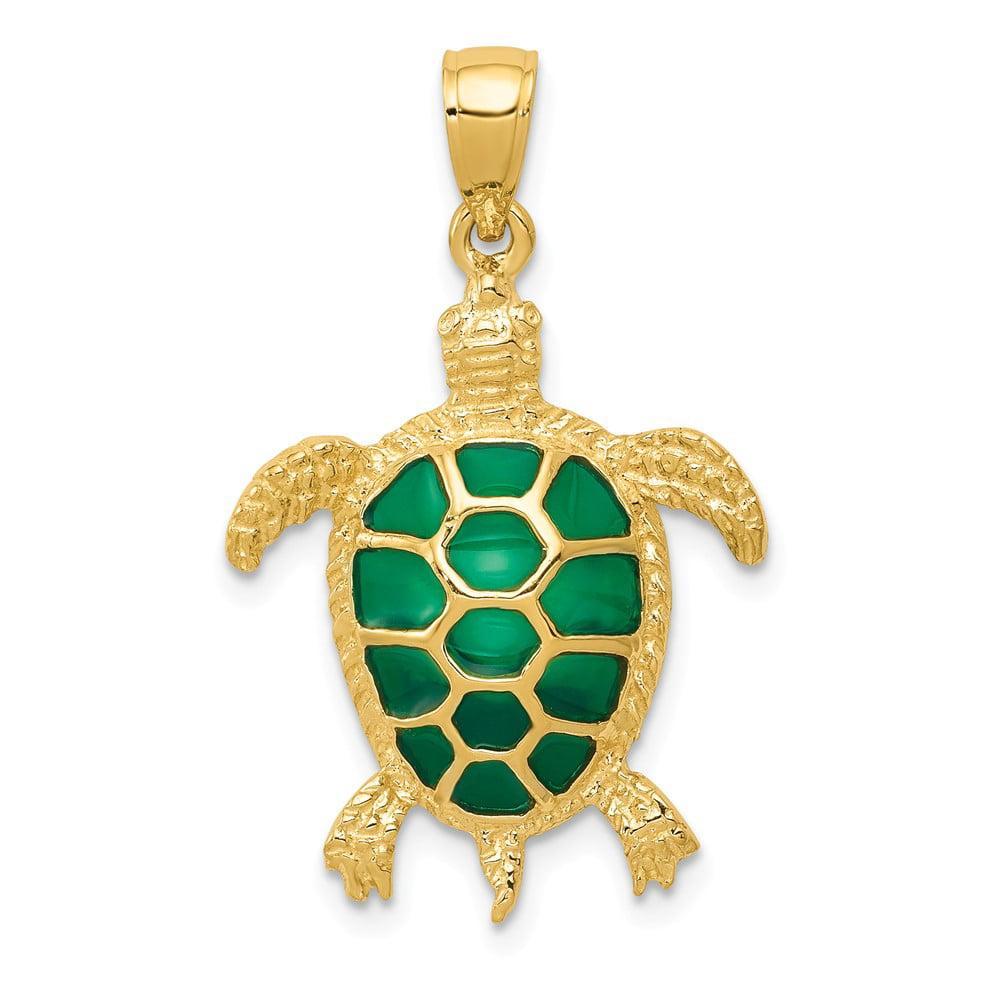14k Yellow Gold Green Translucent Acrylic Sea Turtle Pendant