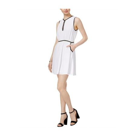 maison Jules Womens Crochet-Trim Fit & Flare Dress brightwhite S - image 1 de 1