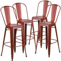 Flash Furniture 4pk 30'' High Distressed Metal Indoor Barstool with Back, Multiple Colors