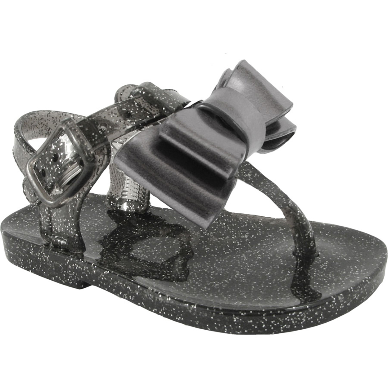 Wee Kids Baby-Girls Sandals Jelly Shoes With Bow (Infant Crib Shoes Baby Shoes) Girls Summer Sandals Charcoal Grey Sz 3