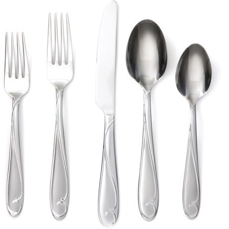 Better Homes And Gardens Lyrical Scroll Frost 20 Piece Flatware Set
