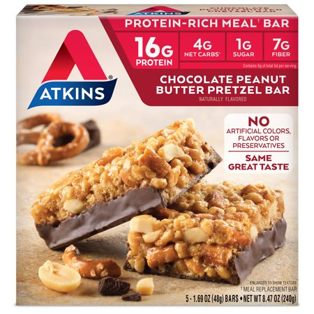 Atkins Chocolate Peanut Butter Pretzel Bar, 1.7oz, 5-pack (Meal