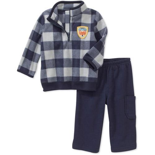 Child of Mine Carters Newborn Boys' 2-Piece Check Mock Neck Fleece and Pant Set