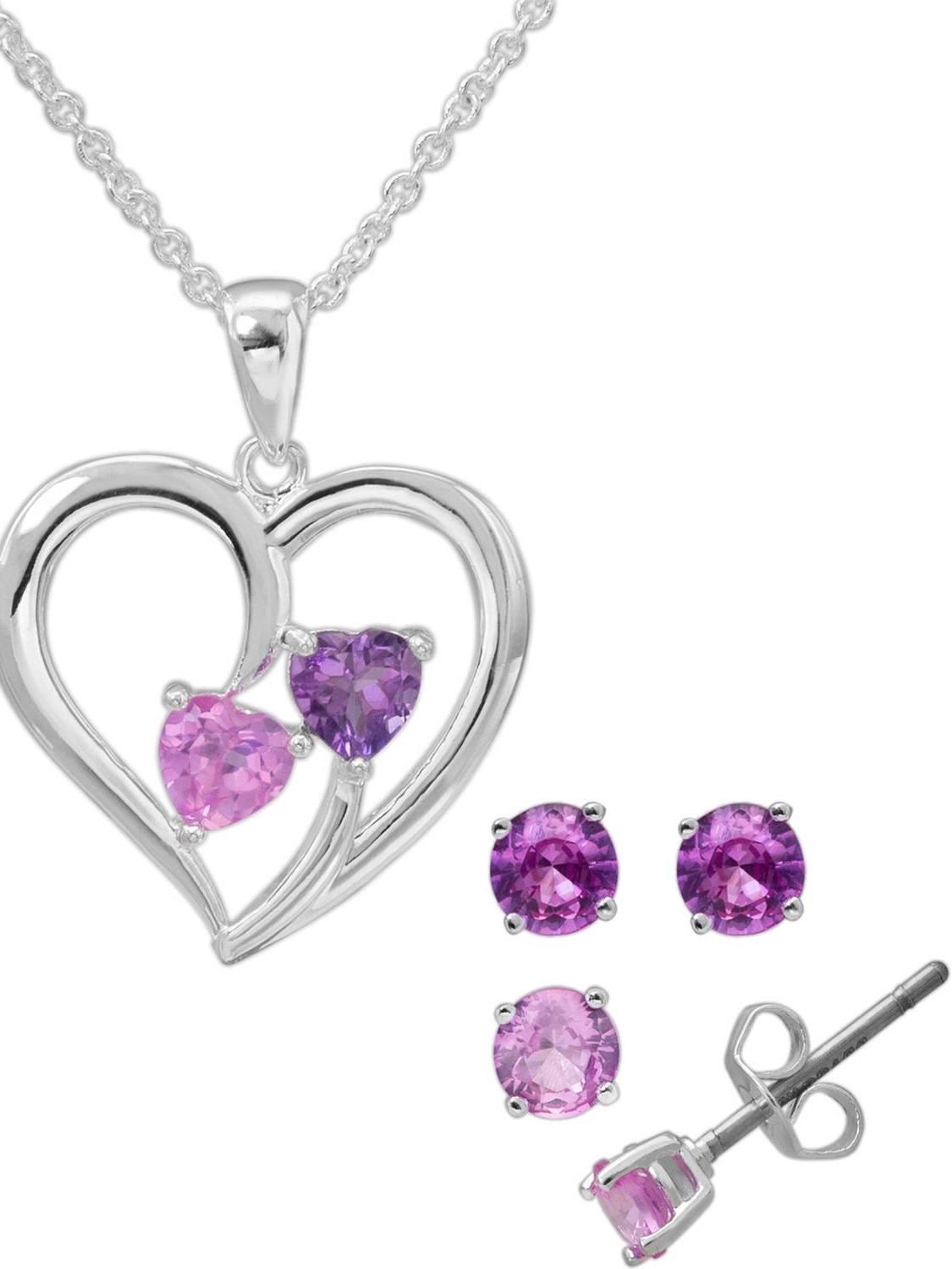 Crystal Silver-Plated Heart Pendant and Stud Earring Set