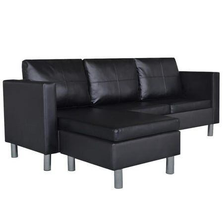 vidaXL 3-Seater L-shaped Artificial Leather Sectional Sofa Black
