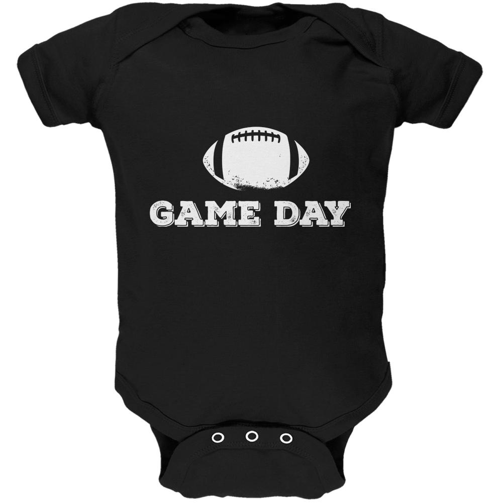 Game Day Football Black Soft Baby One Piece