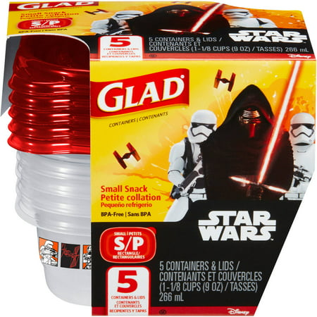 Glad Food Storage Containers  Small Snack  Disney Star Wars  9 Ounces  5 Count